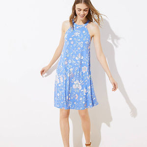 Loft Floral Cutout Back Halter Swing Dress